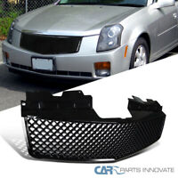For 03-07 Cadillac CTS Glossy Black ABS Mesh Honeycomb Front Bumper Hood Grille
