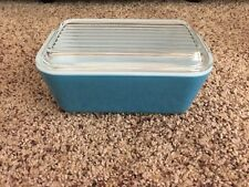 Pyrex Blue Refrigerator Dish 502B with Cover 502C Ribbed Lid