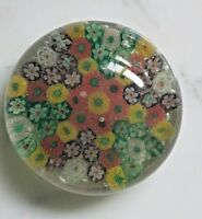 Vintage 2.5 Inch Murano Style Millefiori Cane Glass Paperweight Flowers Signed