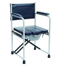 Deluxe folding commode chair portable toilet with padded seat and armrests