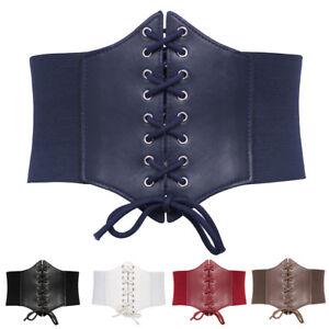 Women Waspie Waistband 19cm Size Leather S-3xl Cincher Elastic Belt Corset Wide