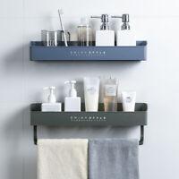 Bathroom Shelf Shower Caddy Organizer Wall Mount Shampoo Rack With Towel Bar