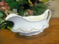 Gravy Boat by Homer Laughlin Model R4808 Vintage Serving Dish White & Gold China