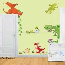 Dragon World Wall decals Removable stickers kids Boy art nursery Corner decor