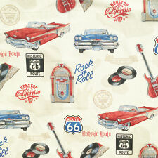 Rock n Roll fabric, retro fifties 50s 1950s rockabilly, jukebox, music, American
