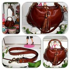 👛FASHIONABLE-GUCCI BROWN INDY 2 TASSEL GG EMBOSSED GUCCISSIMA HANDBAG/HOBO!👛