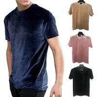 Men Summer O Neck Velvet T-shirt Slim Fit Short Sleeve Solid Casual Basic Blouse