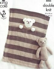 King Cole Knitting Pattern 4005 BABY BLANKETS AND TEDDY BEAR TOY