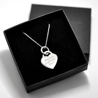 Personalised Engraved 925 Sterling Silver Heart Necklace / Pendant