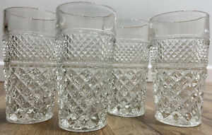 Wexford by Anchor Hocking Clear Glass Diamond Pattern Drinking Glasses Cups