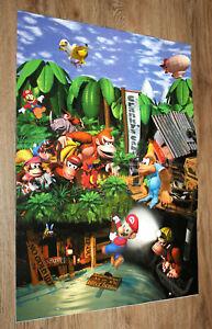 1997 SNES Nintendo Calendar Donkey Kong Country 2 3 Land with center Poster Rare