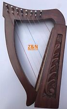 8 Strings Harp Rosewood Mini Irish Harp, Carry bag & Tunning key