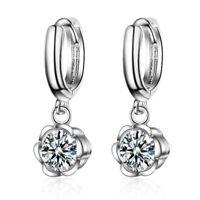 925 Sterling Silver Elegant Zircon Flower Dangle Hoop Earrings Party Jewelry