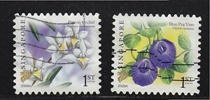 SINGAPORE 2009 BLUE PEA VINE & PIGEON ORCHID 1ST LOCAL 1ST PRINT (2009A) USED