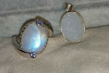 Chuck Clemency NYCII Sterling Silver Moonstone amethyst Ring free Druzy pendant