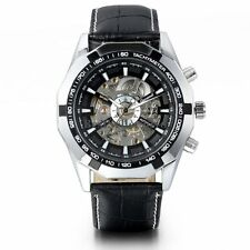 Men's Skeleton Dial Automatic Mechanical Black Leather Sport Analog Wrist Watch