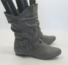 LADIES NEW Gray round toe SEXY  ankle boots side buckles size  5.5