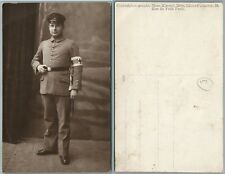 RED CROSS MAN in UNIFORM w/ BAYONET & KNOT WWI ANTIQUE REAL PHOTO POSTCARD RPPC