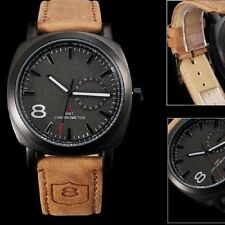 Military Army Quartz Wrist Watch CURREN Men's Leather Strap Sport waterproof