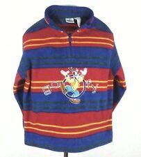 EUC vtg DISNEY GOOFY Embroidered SHIRT FLEECE Red/Blue STRIPED Kids Youth sz 12