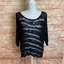 BARDOT Size 12 Top Womens Black Crochet Stretch Casual