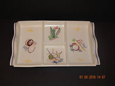 POOLE POTTERY HORS D'OEUVRES DISH HANDPAINTED VEGETABLE DESIGN