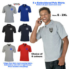 5x Custom EMBROIDERED Polo Shirts Unisex Personalised Workwear Polo Embroidery