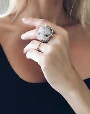 Big OWL COCKTAIL RING 14k White Gold Plated Crystal Rhinestone Statement Jewelry