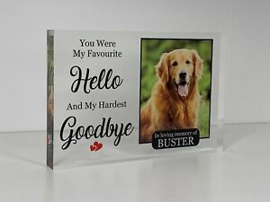 Personalised Pet Memorial Quote Photo Acrylic Block Pet, Dog, Remembrance Gift