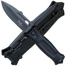Fox Outdoor Taschenmesser Einhand Snake Metallgriff schwarz Flipper Gürtelclip