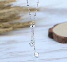 Tiny Tassel Double Love Heart Silver SP Pendant Chain Necklace