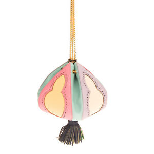 RRP €840 THE VOLON Leather Bucket Bag Colourful Tassel Chain Strap Drawstring