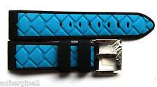 Locman 24mm BLUE/BLACK DIAMOND PATTERN RUBBER Watch BAND, QUICK-RELEASE
