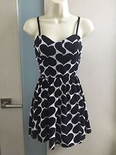 NWOT Wetseal White Heart Black Sweetheart Party Skater Pinup Sexy Date Dress XS