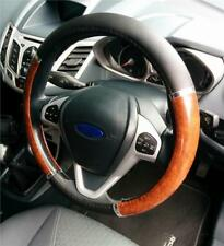 Steering Wheel Cover Black / Wood Soft Leather Look Arthritis Aid For Ford