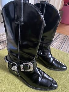 Black Topshop Cowboy Boots With Silver Buckle Detail Size 5 38