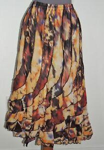 Mix Nouveau Swirl Skirt  Gold Yellow / Red NWT sz LG