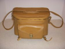 Vintage BEIGE CAMERA BAG WITH SHOULDER STRAP, 11 INCHES WIDE BY 8 INCHES TALL!
