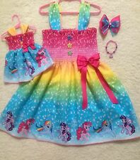RARE Handmade My Little Pony Dress Toddler/Girls(2T-8Y)Doll Dress FREE bracelet