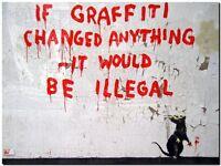 "BANKSY STREET ART CANVAS PRINT If grafitti changed anything rat 24""X 32"" poster"
