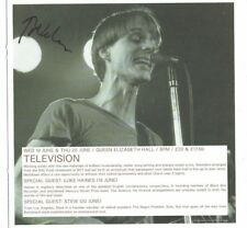 Tom Verlaine Singer Television Hand Signed  Advertising sheet  9  x 8