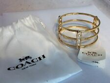 Coach 99781 Gold & Pearl Triple Bangle Bracelet New NWT + Pouch MSRP $118