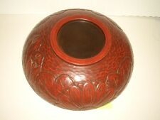 Japanese Vintage Kamakura-bori Bowl Hand Carved Wood Lacquer Ware Made in Japan