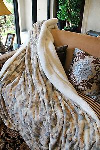 Tache  Brown Russian Lynx Luxury Elegant Super Soft Chic Faux Fur Throw Blanket
