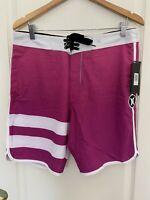 Hurley Julian Phantom Boardshorts Swim Trunks Pink / White MSRP $65.00 sz 32