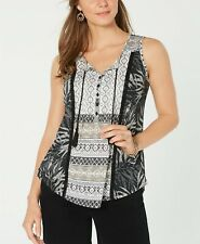 Style & Co. Women's Sleeveless Lace-Up Tasseled Ikat Top, Black Multi