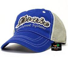 DRAKE WATERFOWL DISTRESSED LABEL LOGO COTTON HAT MESH BACK BALL CAP NAVY BLUE