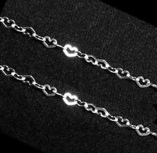 """12"""" Sterling silver bead 3.6mm Flat Heart link Chain"""