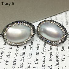 Natural Abalone shell filled Swarovski Crystal 925 Silver stud earrings