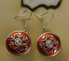 Hook Dangle Earrings gifts for women Snow Flake red 18mm Snap Button Silver